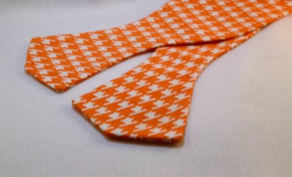 Men's Orange or Periwinkle Herringbone Print Fabric Bow Tie