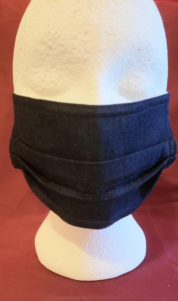 Dark or White Wash Denim mask, 100% dark or light cotton fabric, 8x8 inch finish, 8 inch elastic ear hooks