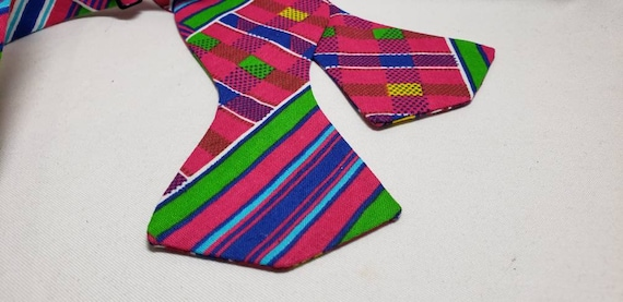 Vibrant Fushia, Royal Blue and Yellow Cotton Kente Cloth Fabric Bowtie, Self Tie or Pre-Tied