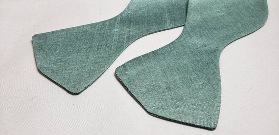 Sea Green Polyester Bow Tie, Adjustable up to 21 inches with metal bow tie slides