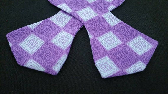 Purple and Blue Print Mask and Self Tie Bow Tie or Pre-Tied Combination. 100% cotton fabric.
