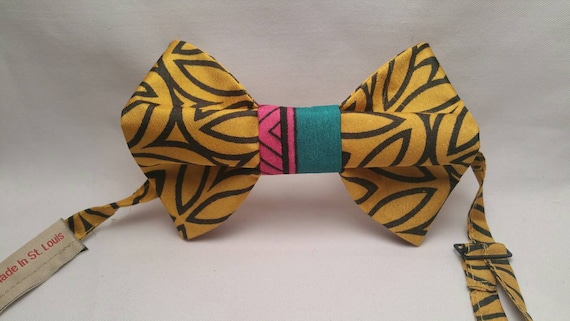 Black and Gold Polyester Print fabric bow tie
