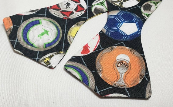 Multi Colored Soccer Balls Print Bow Tie, Self tie or Pre-Tied versions, men and boys sizes