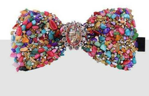 Colorful Stones unisex bowties with coordinating attached broach knot, polyester strap neckband with metal clasp hardware closure