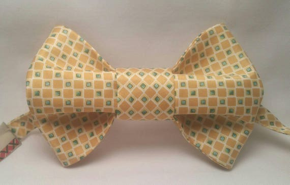 Gold, Yellow, Green and Tan Print Bow Tie