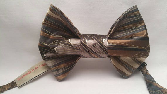 Black, Brown, Tan and Grey Print Bow Tie with coordinating pocket square.