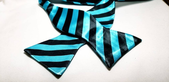 Teal with Black Stripe Print Self Tie bowtie