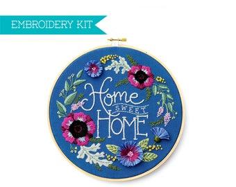 Embroidery Kit, Hand Embroidery Kit, PDF Embroidery Pattern, Housewarming Gift, Wedding Gift, DIY Kit, Supply Kit, Home Sweet Home Pattern