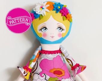 Felt Doll Pattern, PDF Pattern, Cloth Doll, Art Doll, Felt Flowers, Toy Sewing Pattern, Rag Doll, Softy Pattern, Doll Tutorial, Felt Doll