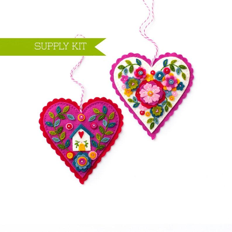 Valentine/'s craft DIY Craft kit Embroidery Pattern Wool Felt Ornament Cottagecore supply Heart Ornament Kit Valentine/'s Day supply kit