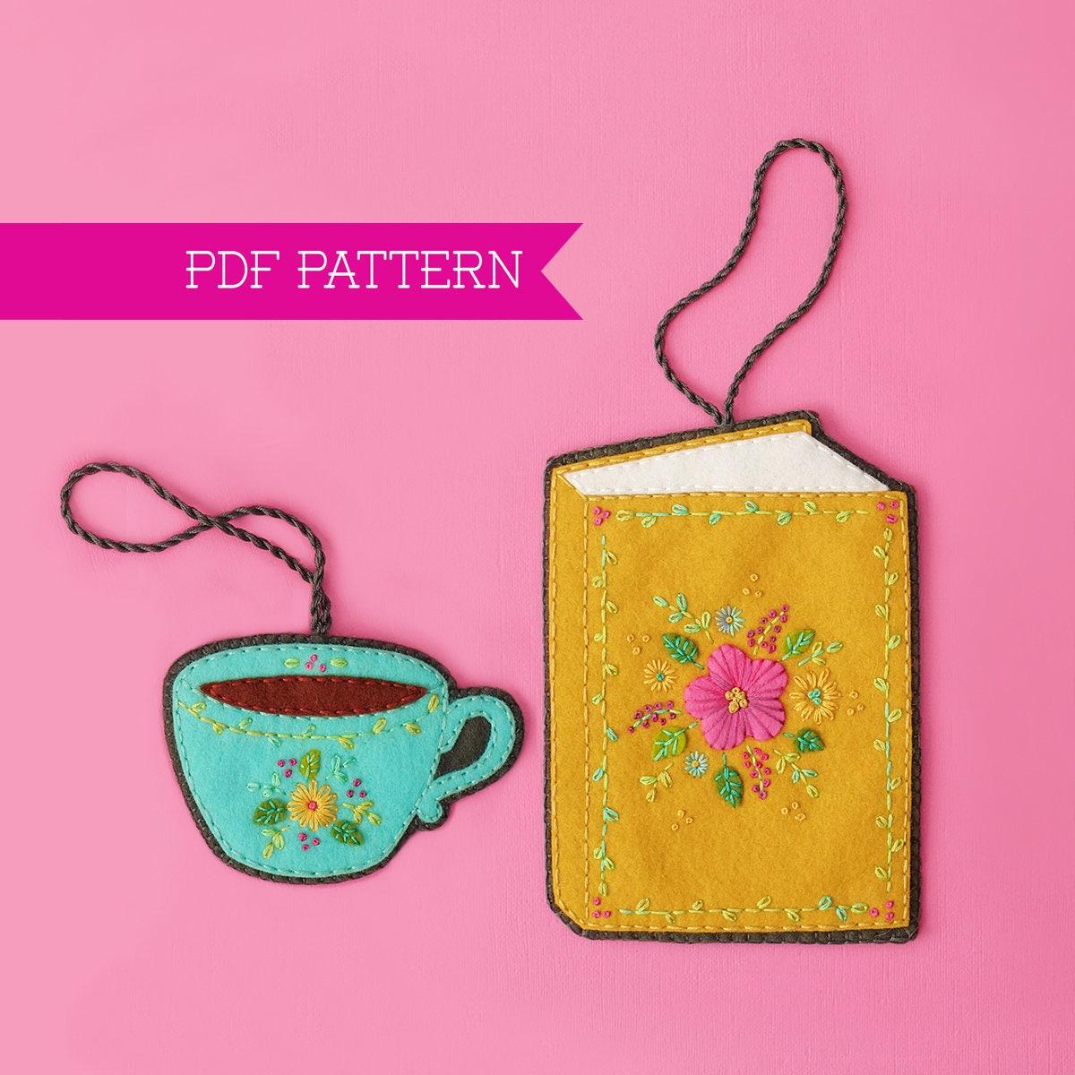 Felt Ornament Book Lover Felt Ornament Pattern Teacup | Etsy