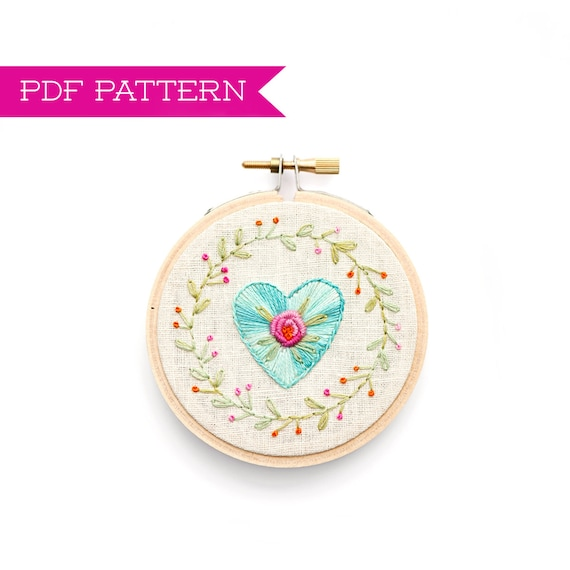 Embroidery Pattern Pdf Heart Pattern Hand Embroidery Etsy