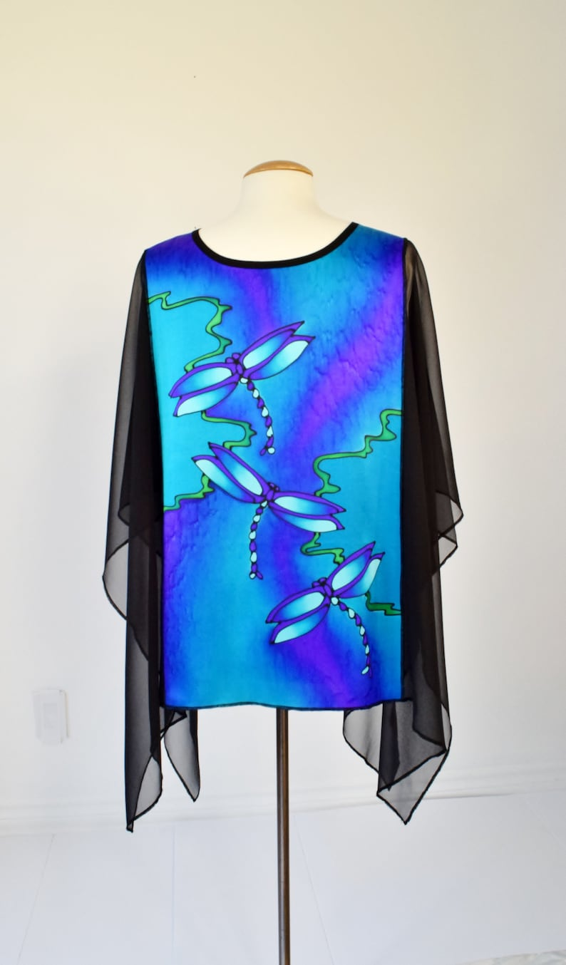 Pure Silk Over Blouse Hand Painted Dragonflies