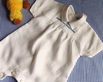 Christening romper in Linen for baby boy