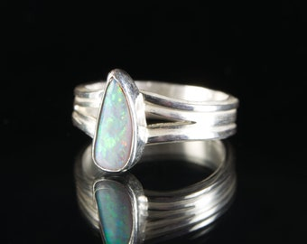 Precious Opal Silver Ring: Hand Cut Australian Opal in Original Handformed Sterling Silver by Goodwin and Maxwell. Ships Free in USA.