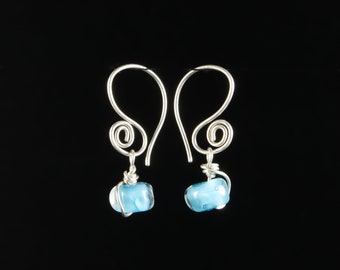 Turquoise Glass Earrings: Lampwork Upcycled Glass Bead Earrings/Sterling Silver by Heather Maxwell of Goodwin and Maxwell. Ships free usa