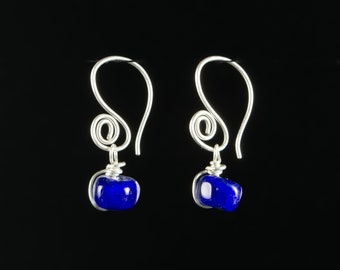 Lapis Blue Glass Earrings: Lampwork Upcycled Glass Bead Earrings/Sterling Silver by Heather Maxwell of Goodwin and Maxwell. Ships free usa