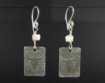 Bone Silver Bison/Buffalo Earrings: Lampwork Glass  Silver Earrings Hand Chased and Textured Sterling Silver Bison. Ship Free to USA