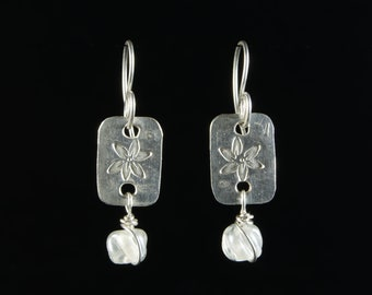 Recycled Stained Glass and Stamped Silver Earrings: Lampwork Glass and Hand Stamped Sterling Silver by Goodwin and Maxwell Ship Free to USA