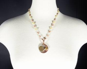 Carnelian Mixed Metal Moons: Handmade Lampwork Glass beads Handmade Silver/Copper Chain with Carnelian Cosmic Moons Pendant Free Ship in USA