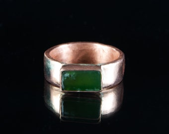 Nephrite Jade Copper Ring: Handcrafted Copper Ring with Hand Cut and Hand Set Nephrite Jade by Goodwin and Maxwell. Ships Free in the USA