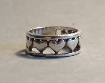 Vintage Sterling Silver Heart Ring Band Hand Size 8.5 Marked 925 Alternative Wedding Ring Promise Ring