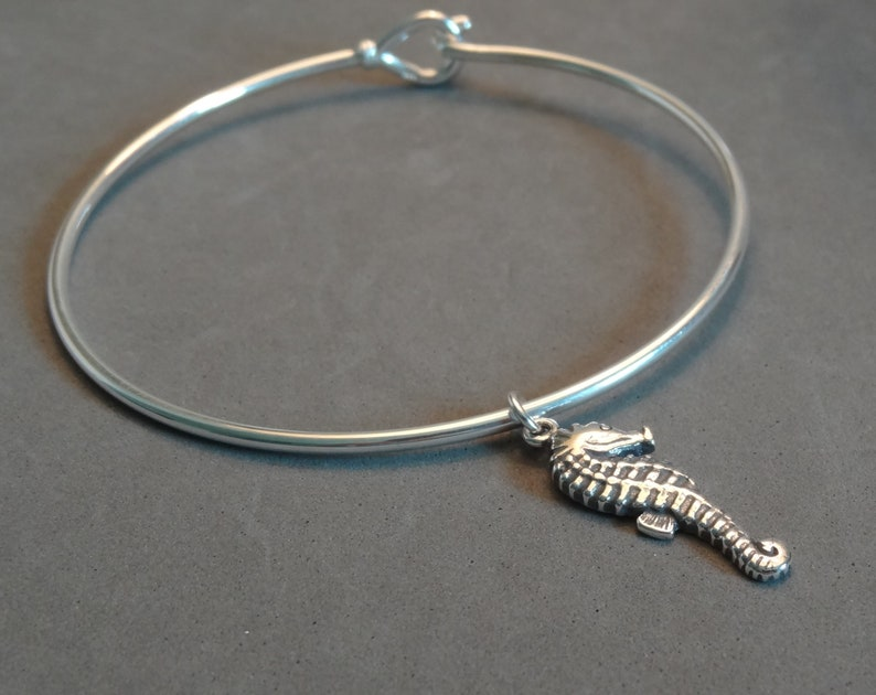ba3b4a89e81f2 Sterling Silver Seahorse Charm Bangle Bracelet Ocean Beach Jewelry Gift  Idea for Wife Girlfriend Teen Daughter Mom