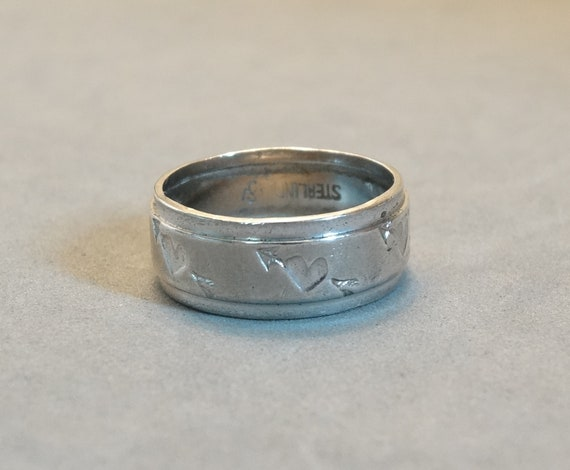 Vintage Sterling Silver Heart Ring Size 7