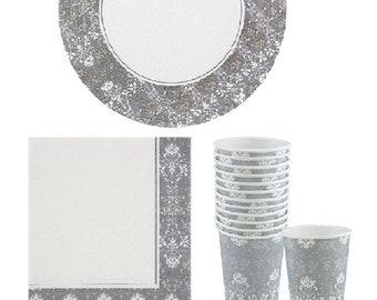 Floral Wedding Party Paper Supplies | Rehersal Party | Table Decoration | Party Decor | Fleur  sc 1 st  Etsy & Fleur de lis plates | Etsy