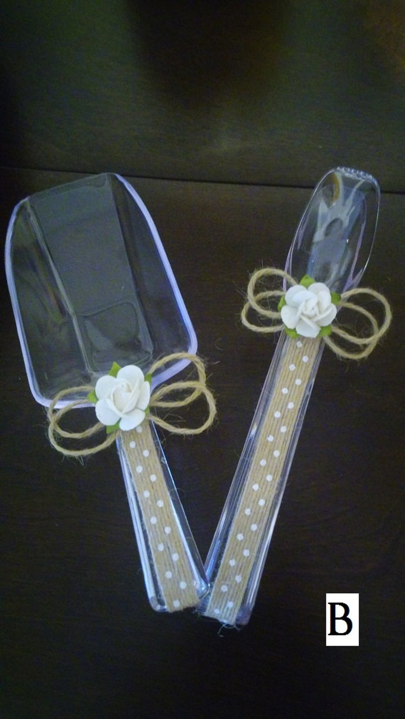 Burlap Rustic Decor Clear Plastic Scoops /& Tongs Party Candy Bar Buffet Table Utensils Serving Set Birthday Wedding