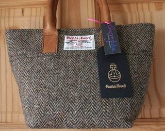 Ladies brown Harris Tweed small tote bag handbag with pink and blue floral lining