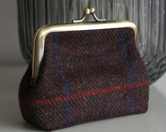Ladies checked tweed zipped coin purse with floral lining