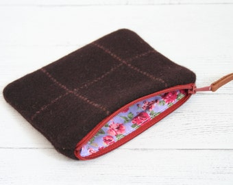 Brown tweed zipped coin purse with purple floral lining