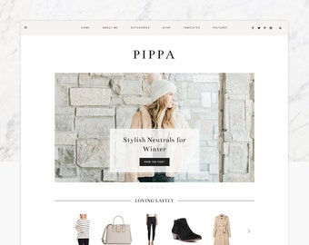 "WordPress Theme - WordPress Ecommerce Theme - Fashion Theme - Genesis Theme - ""Pippa"" Instant Digital Download"