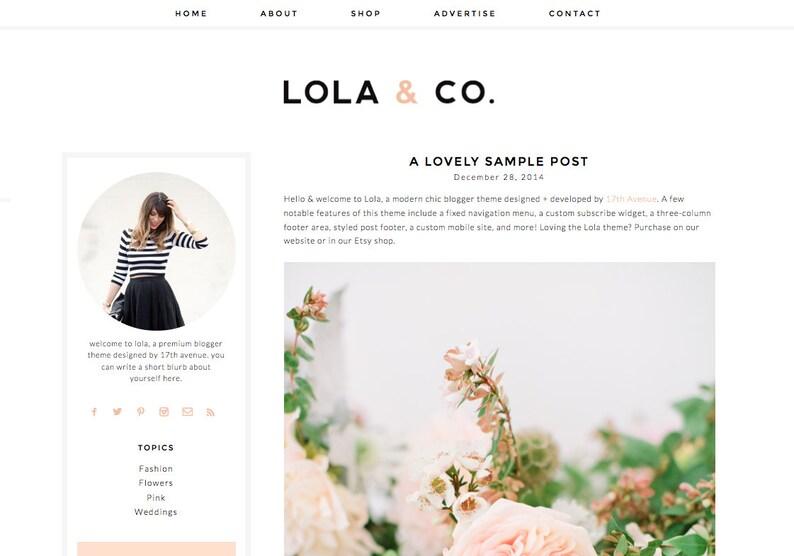 Blogger Template Premade Blog Theme Design  Lola & image 0
