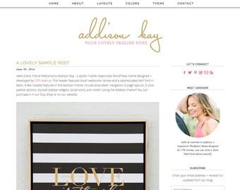 "Wordpress Theme Premade Blog Template Design - ""Addison Kay"" Instant Digital Download"