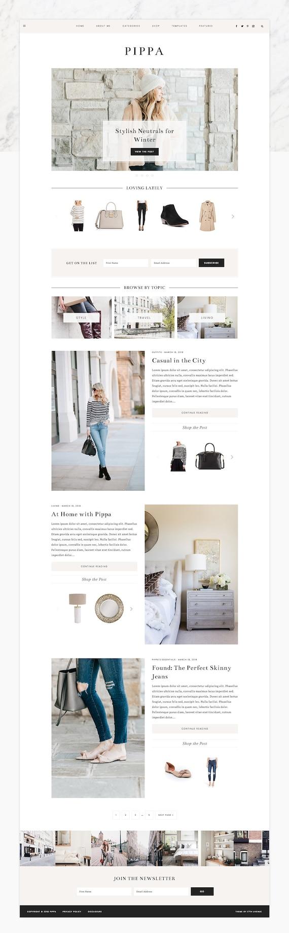 "NEW Wordpress Theme - Wordpress Ecommerce Theme - Fashion Theme - Genesis Theme - ""Pippa"" Instant Digital Download"