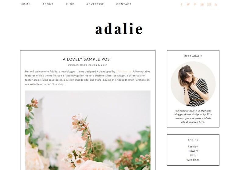 Blogger Template Premade Blog Design  Adalie image 0