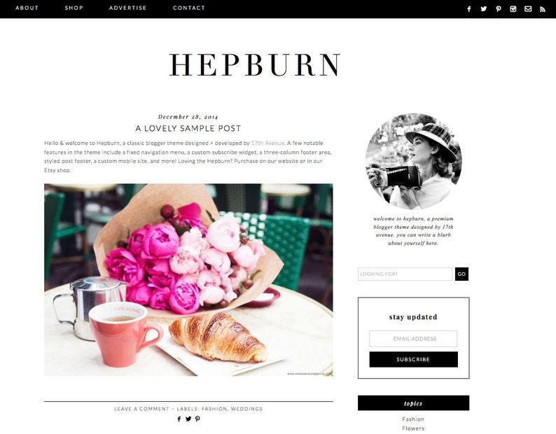 Blogger Template Premade Blog Design  Hepburn image 0