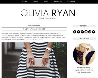 "Blogger Template Premade Blog Design - ""Olivia Ryan"" Instant Digital Download, Black and Simple"
