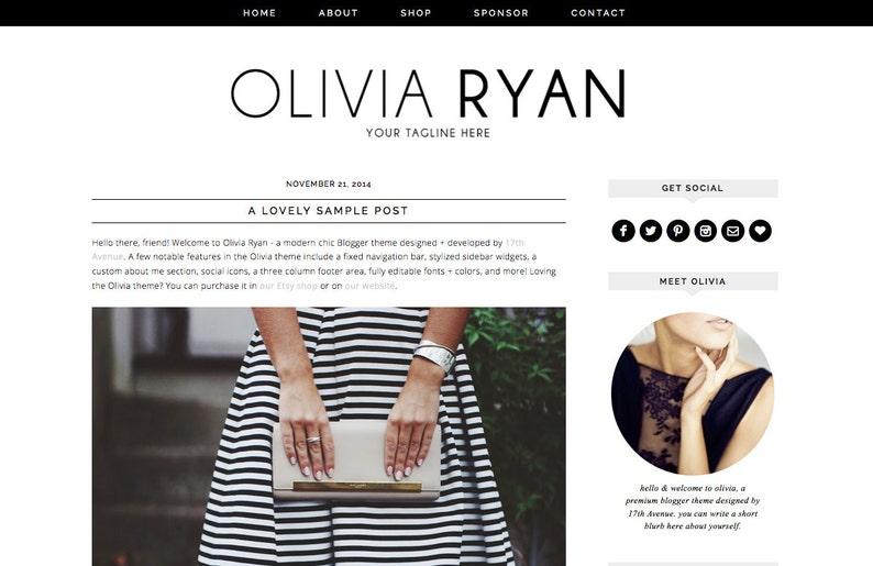 Blogger Template Premade Blog Design  Olivia Ryan image 0