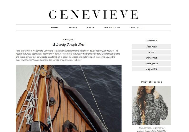 Blogger Template Premade Blog Design  Genevieve image 0