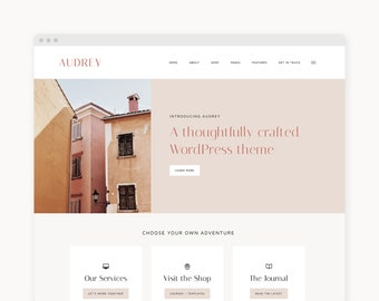 "NEW! WordPress Theme - WordPress Ecommerce Theme - For Businesses, Shops, & Course Creators - Genesis Theme - ""Audrey"""