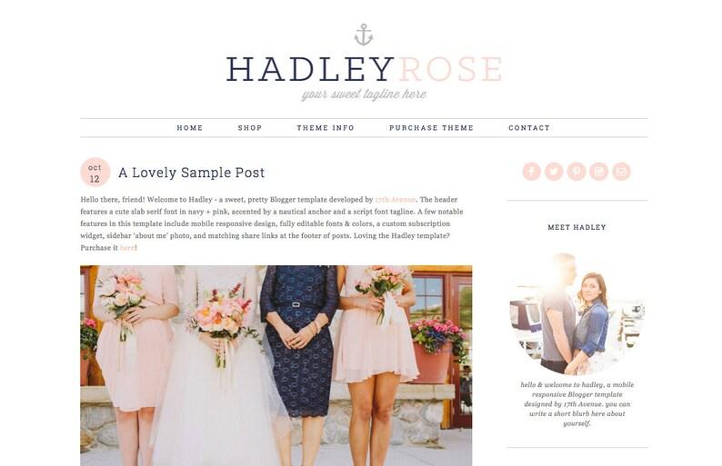 Blogger Template Premade Blog Theme Design Hadley image 0
