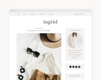 "WordPress Theme - Feminine Fashion WordPress Blog Theme - Genesis Theme - ""Ingrid"" Instant Digital Download"