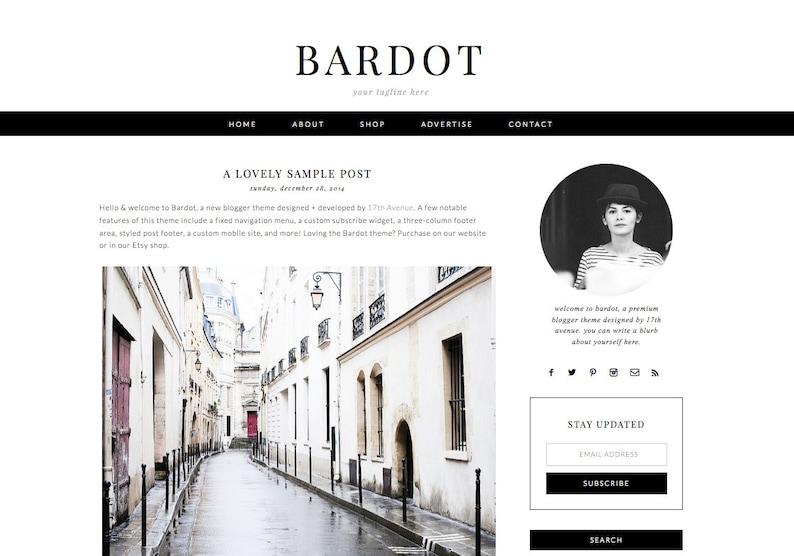Blogger Template Premade Blog Design  Bardot image 0