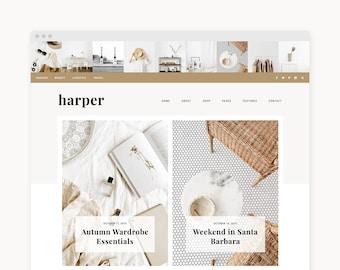 "WordPress Theme - WordPress Ecommerce Theme - Travel, Fashion, & Food Theme - Genesis Theme - ""Harper"" Instant Digital Download"