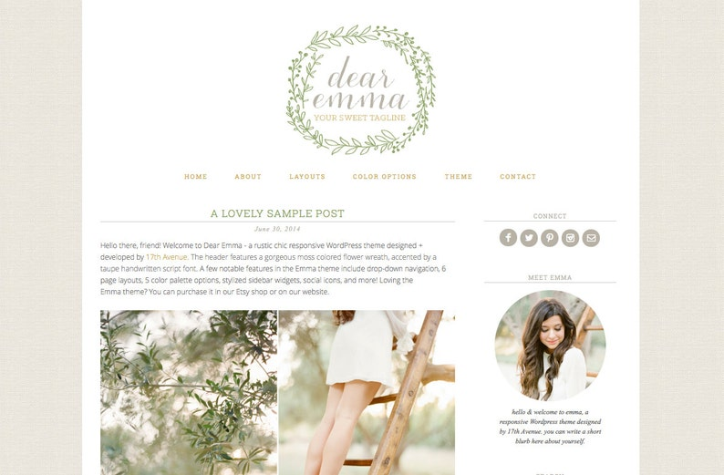 Blogger Template Premade Blog Design  Dear Emma image 0