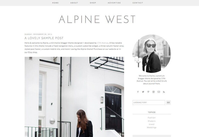 Blogger Template Premade Blog Design  Alpine West image 0
