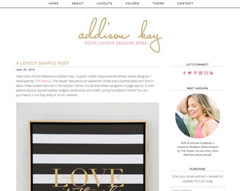 "Blogger Template Premade Blog Design - ""Addison"" Blogger Theme"